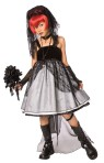 Dark Bride Child Costume - Elegant long dress, arm gauntlets and dark bridal veil.