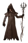 Evil Warlock Child Costume - Long leather look robe with sewn embellishments, cowl with attached hood.