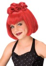 Batty Princess Wig - Funky fashion red wig with curls atop.