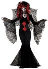 The ultimate Goth Nightmare! Floor length gown with webbed drop sleeves, belt and web wings. MR177180 Nightmare Wig sold separately. Made of 100% polyester fiber.