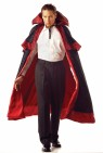 Deluxe knee length black cape with red lining, shoulder layers with tie front and standup collar.