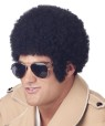 Black traditional tight curl afro wig with long sideburns. Designed with a stretch net under cap.