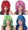 Hard Rockin Witch Wig - The Sexiest Witch Wig you will ever see.  Shag-style cut with long bangs. Multi colors for any look you want. Designed with stretch net under cap. Available in various colors.