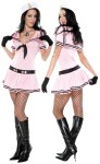 This sexy Sassy Sailor costume will float your favorite captains boat. Pink sailor costume with tie front dress, hat and gloves. Stockings and boots not included.