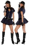 You will definitely be able to write your own ticket while wearing this sexy Police Playmate costume. Navy blue dress with keyhole zipper front, hat, belt with badge, gloves, sunglasses, whistle and handcuffs. Cotton/Spandex blend. Boots not included.