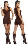 Native Beauty Adult Costume - Ultrasuede dress with Native American trim, headband and belt. Spear not included.