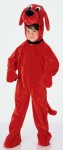 Clifford the Big Red Dog plush velour character hood with attached front zipper jumpsuit. This is a top quality costume!