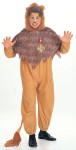 Costume features a plush lion headpiece with attached collar and cowardly lion jumpsuit.