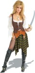 She Pirate costume includes: tie-up front corset, scallop drop sleve blouse and traditional pirate style skirt.  Pirate sword, fishnet hose, and boots not included.