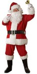 Lined jacket with zipper front and belt loops, pants with pockets, hat, gloves, belt with 3 x 5 buckle and boot tops. Santa Suit and hat are trimmed in faux fur.  Wig and Beard sold separately.