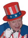 Traditional Red, White & Blue Uncle Sam hat, that collapses when not in use for easy storage. One size fits most children.