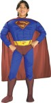 Includes muscle defined chest with logo attached, jumpsuit with attached boot tops, belt and cape. * Trademark and Copyright DC Comics (s06).