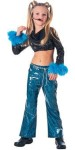 Rock star headset with Mic, sequin top, vinyl pants, glitter make-up & beaded chain. Trimmed in marabou.