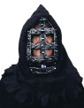 Hooded iron face guard Halloween mask with medieval styling.