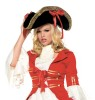 Deluxe pirate hat with heavy gold trim and side ribbons topped with ostrich feathers. One size fits most Adults.