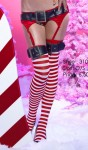 Striped stockings with bucklet top.
