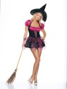 Includes: Corset-look, Peasant Top halter Dress, and Traditional Witch Hat.   Sizes,  Large: 8-10;  Medium:5-7;  Small:2-4.