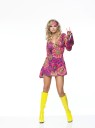 Includes: colorful mini dress with matching headband and retro bell sleeves.