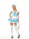 Alice Girl - Cute Alice in wonderland set includes dress that has attached printed apron, bow head piece, and printed stockings. Petticoat and Bunny not included.