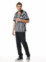 Striped referee style shirt with whistle.