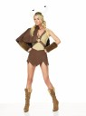 This sexy Norseman costume includes:  dress, cape  and faux fur cuffs.