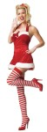 Santas Little Helper Adult Costume - Plush detailing, velvet bow, and striped stockings. SM/MD 2-7 & MD/LG 7-12