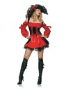 "Vixen Pirate Wench Adult Costume - Ready to sail the high seas! Velvet double lace up corset dress. Hat not included. <span id=""lblDescription"">Add Style # <a href=""/petticoat-grp-123ua8999.aspx"" target=blank>YFZ1000</a> black lace petticoat to achieve the look shown.</span>"