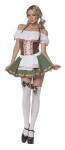 This little beer server includes peasant top dress with  satin ribbon trim and stockings with matching bows.