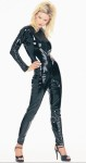 One piece black leather-like suit. Made of vinyl. Kitty kit which includes shiny black vinyl ears and tail and Kitty Mask of shiny black vinyl sold separately.