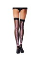 Black fishnet stockings with pink ruffle backseam.