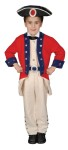 Right out of the Revolution. Includes jacket with vest, pants, belt and hat. Polyester costume.