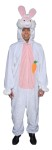 Deluxe plush fur, zipper front jump suit with open face hood, character head attached and embroidered carrot attached.