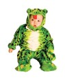 Beautiful green little fron, light plush, fully screen printed jumpsuit with detailed gloves and feet, fully detailed hood and realistic eyes.