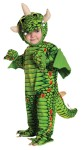 Dragon Toddler Costume - A very cute dragon costume. Green jumpsuit with dragon design and attached feet, hood with horns and mitts. Material: Poly-cotton Blend