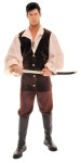 This Swash Buckler includes:  vest with mock shirt, lace-up front traditional full sleeves with elastic gathered cuffs and pirate pants.  Sword and boots not included.