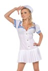 Button front mini dress with pleated skirt and sailor hat. Small 6-8, Medium 10-12 & Large 14-16