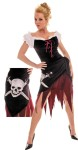 Includes: sexy, off shoulder style lace-up bodice, shredded bottom dress with pirate skull hip scarf. Shoes not included. Sizes : Large (12-14), Medium (8-10) & Small (4-6)