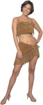 Top quality female Indian costume.  Comfortable suede, fringed halter top and tie side mini skirt. Sizes : Large (12-14), Medium (8-10) & Small (4-6)
