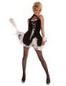 Maid to Tease includes halter top mini dress with attached petticoat, wrist cuffs and choker. AB88 Assorted Color Feather Duster sold separately.