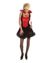 Last Kiss Vampiress style costume, black and red halter top mini dress with attached stand up collar. Bat pendant not included.