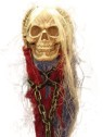 Hanging Skull with Hands and Chain - Over-sized hard foam skull has skeleton hands attached to each side of the head 