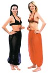 Chiffon harem pants with elastic waistband, one size fits all.