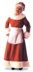 Mrs. Santa Adult Costume - Made of quality red velvet and trimmed in luxurious long white pile around the neckline & cuffs and hemline, this elegant Santa Long Dress also includes apron and mobcap.  SIZES:  Small= 9-10  Medium= 12-14  Large= 16-18