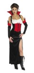 Countess Carmella Adult Costume - Includes: Full-length Dress with mock corseting, flared collar and long sleeve gloves. Material : Polyester, cotton, rayon. Available sizes, Large (16-18), Medium (12-14), Small(8-10).