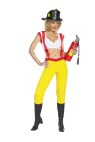 Sexy Firefighter Adult Costume - Includes: Crop Top, Pants and Suspenders. (Hat, Extinguisher & Boots not included). XS: (4-6), Small: (8-10) & Medium: (12-14).