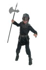 Medieval Warrior Child Costume - Get ready for battle with this awesome costume! Includes: Black hooded robe, 3-D sculpted belt & chest piece, and mask. Machine washable. (Battle axe NOT included.)