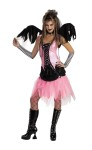 Graveyard Fairy Teen/Child Costume - Includes: dress with lace up front, coffin look midriff, chiffon jagged bottom.  Complete with detachable wings and glovettes.  Choker, fence net pantyhose & boots not included.
