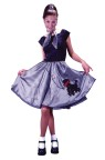 Bobby Soxer Adult Costume - Stylish dress with appliqued poodle skirt and attached crinoline.  Includes neckerchief.