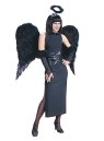 Feather wings handmade of real feathers, they are held on comfortably with shoulder straps. 36 inches wide by 31 inches high. Available in Black (Angel of Darkness) or White (Angel of Mercy) style. (Halo not included)