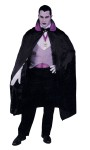 This Classic Vampire costume includes: Black polyester cape (56) with stand-up collar, Gray tuxedo vest with buttons, Black satin bow tie, vampire medallion, White theatrical gloves and a satin cummerbund.